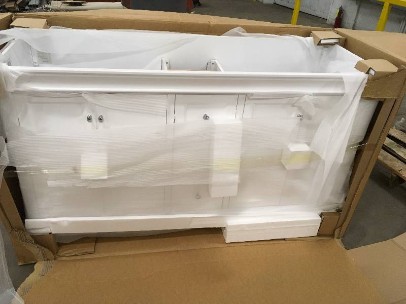Naples 60 in w x 21 3 4 in d bath vanity cabinet only in white model nawa6021d kx real deals Model home furniture auction mn