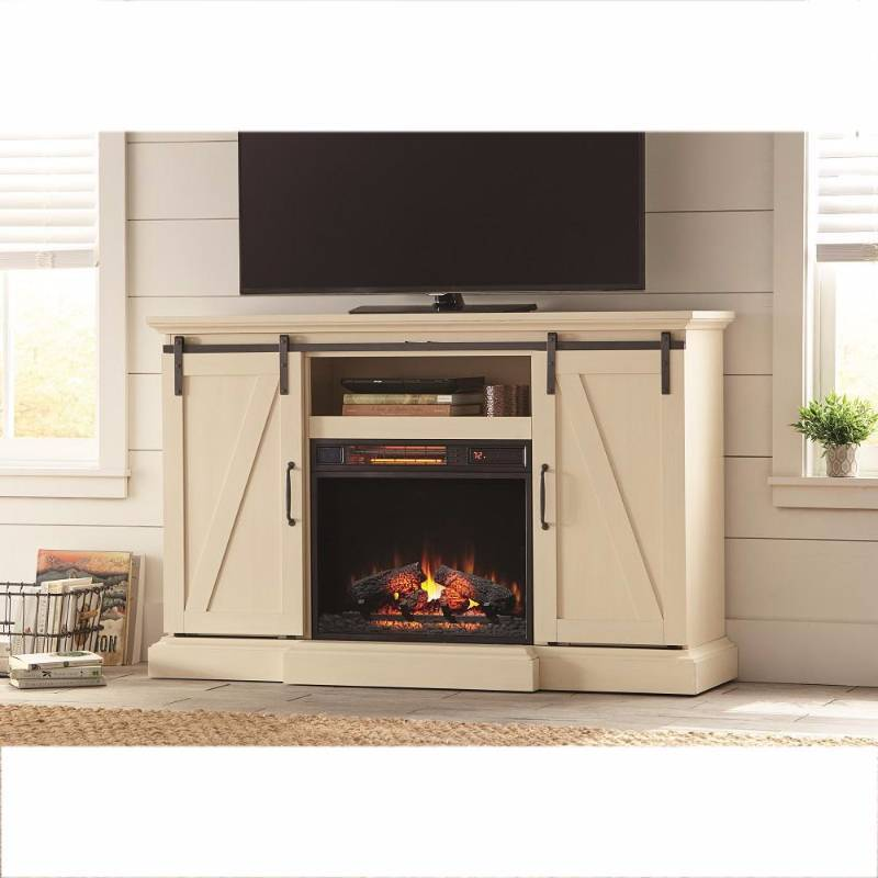 chestnut hill 56 in  tv stand electric fireplace with sliding barn door in rustic brown new