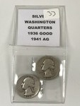 (2) Washington Silver Quarters: 193...
