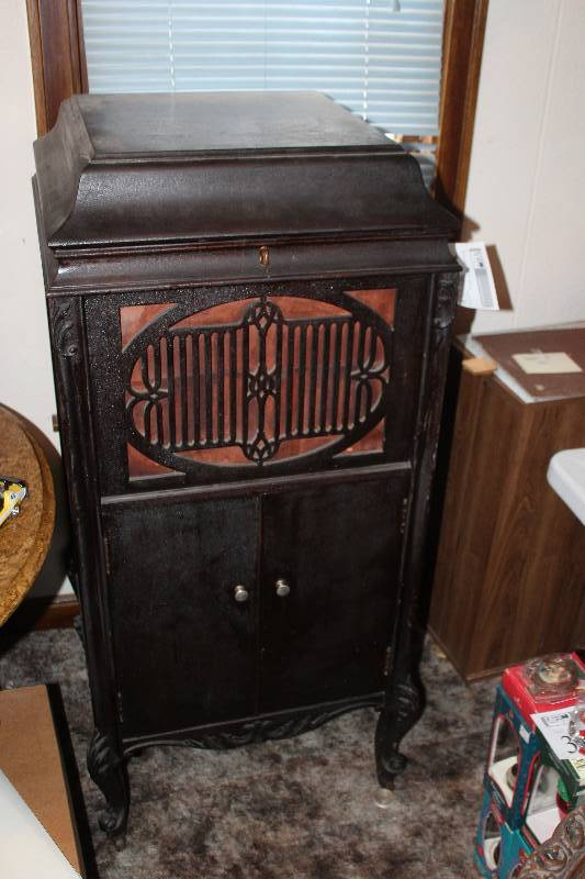 Vintage Brunswick Record Player Cabinet W Records Black