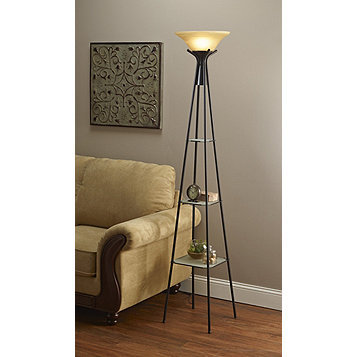 Mcleland Design Torchiere Floor Lamp With Lighted Shelves