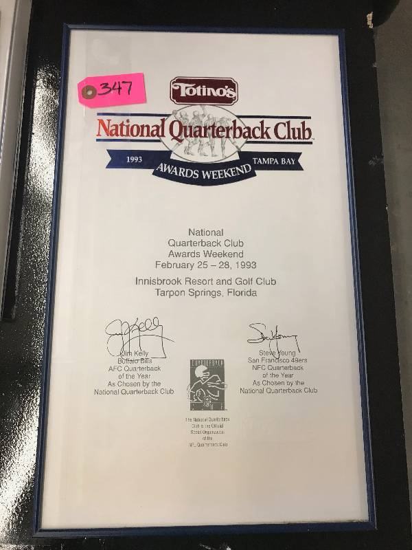 NATIONAL QUARTERBACK CLUB CERTIFICATE