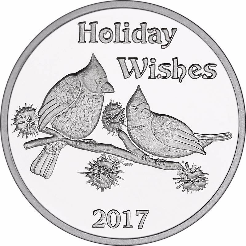 1 Troy Oz 999 Fine Silver Christmas Holiday Wishes