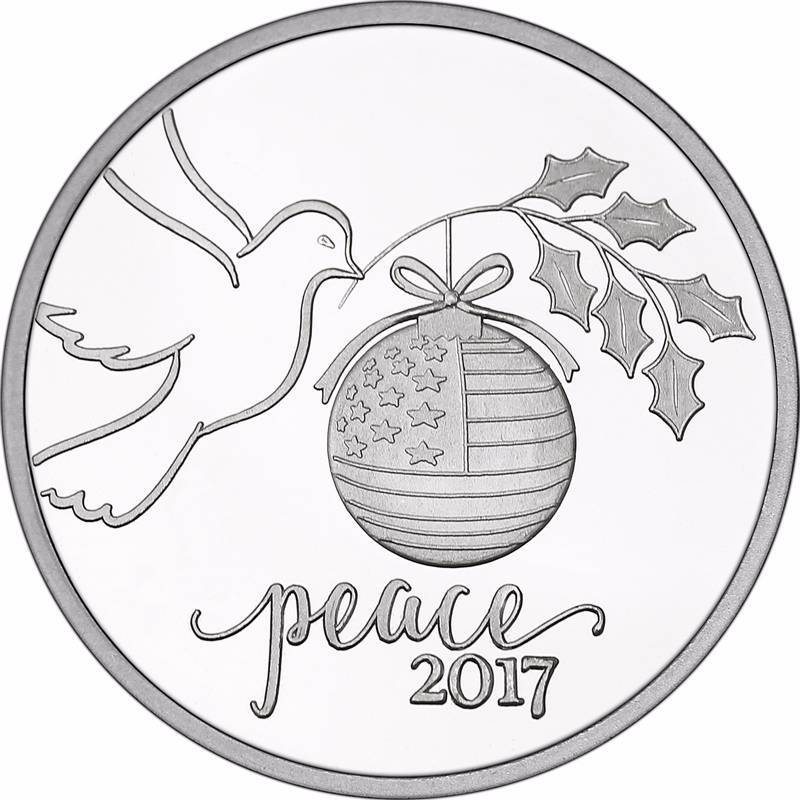 1 Troy Oz 999 Fine Silver Christmas Peace Dove Dec 13th Rare Coin Currency Auction K Bid