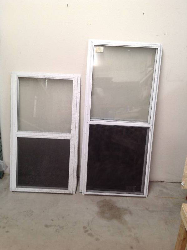 5 white aluminum storm windows with screens december for Aluminum storm windows