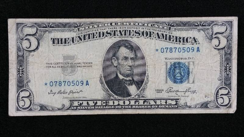1953 $5 Blue Seal Silver Certificate Star Note | High End Coin ...