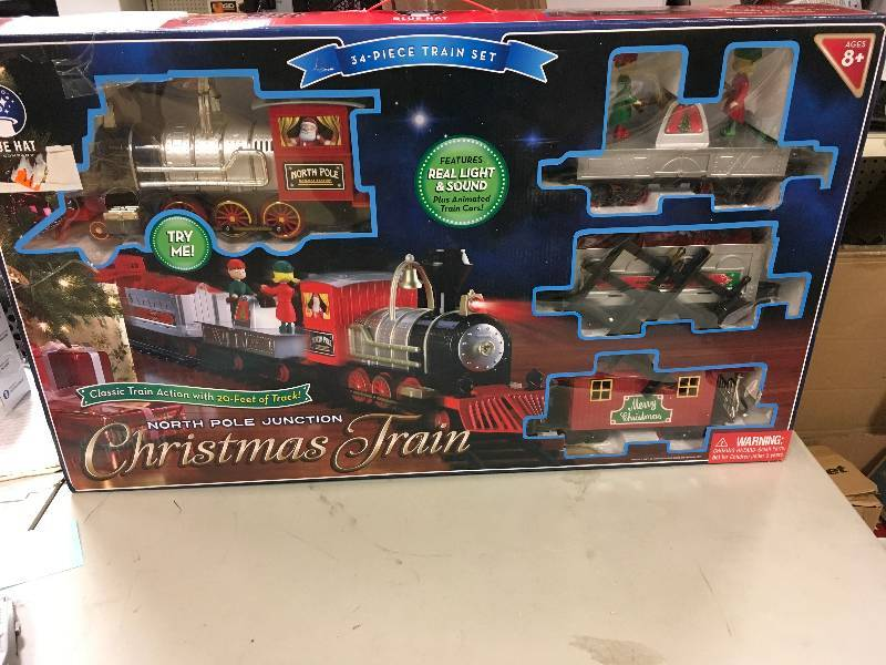 blue hat to company north pole unction christmas train set open box never used kx real deal auction tools housewares appliances and more st paul - North Pole Junction Christmas Train