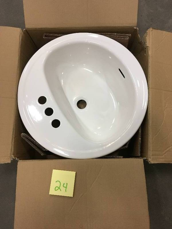 Glacier Bay Aragon Self Rimming Drop In Bathroom Sink In White Open Box Never Used Kx Real