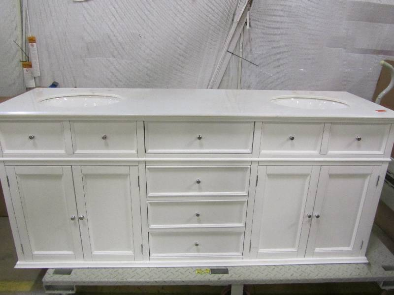 Home Decorators Collection Hampton Harbor 72 In Double Vanity In White With Natural Marble
