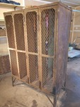 1920s Industrial Wire Mesh Gym Lockers w/ Original Hooks and Brass Number Plates and Original Wire Mesh Soap Holder