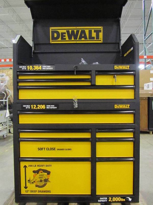 dewalt 40 in. 11-drawer black tool chest and rolling tool cabinet ...