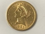"1901 ""Half Eagle"" $5 Gold Coin, Act..."