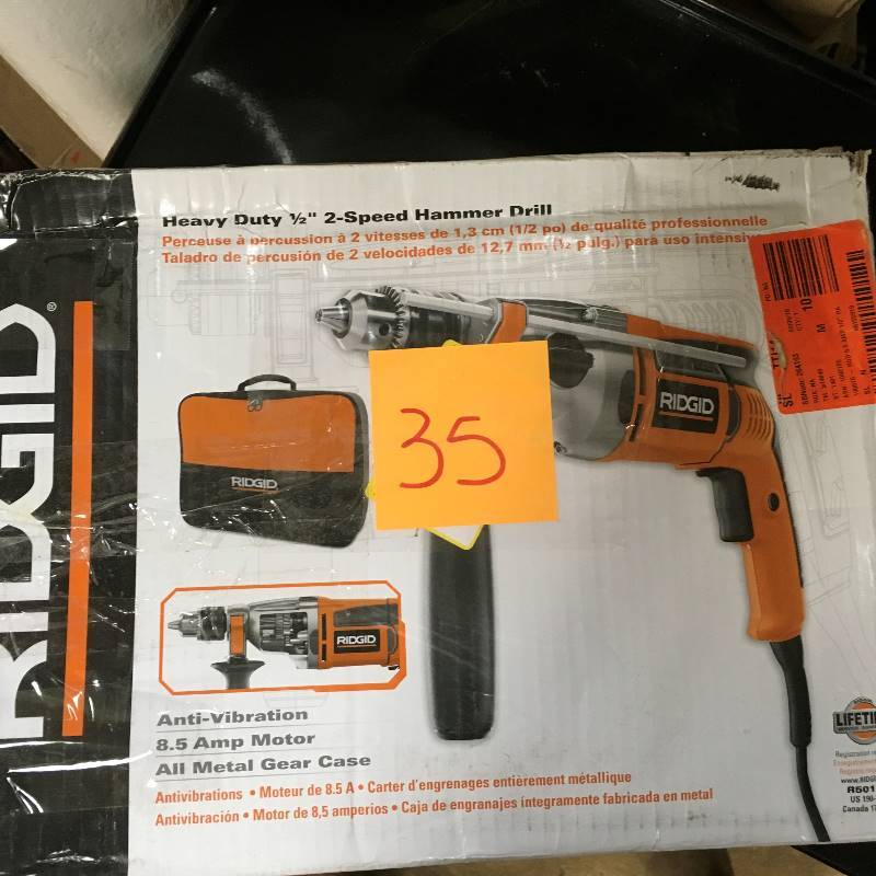 Ridgid Heavy Duty 1 2 Speed Hammer Drill Used In Very Good Working Condition