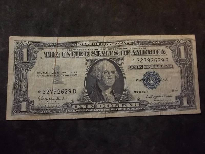 1 Dollar Us Silver Certificate Series 1957b Star Note Type Coins