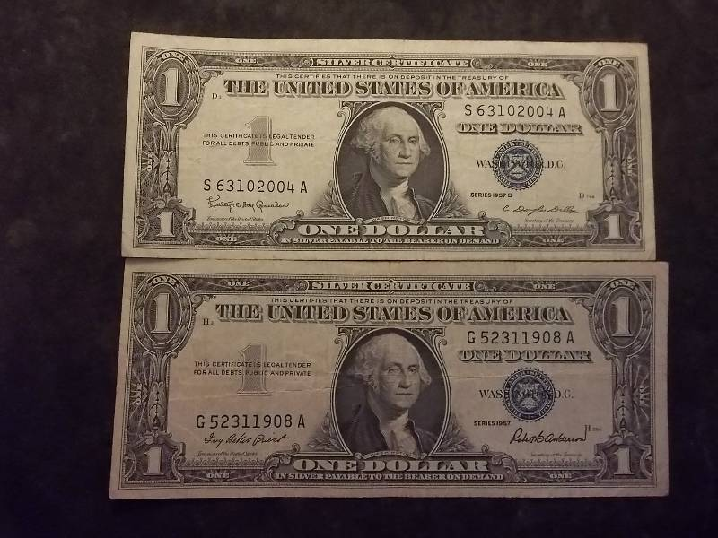 2 US One Dollar Silver Certificates 1957 & 1957 B Series | Type ...