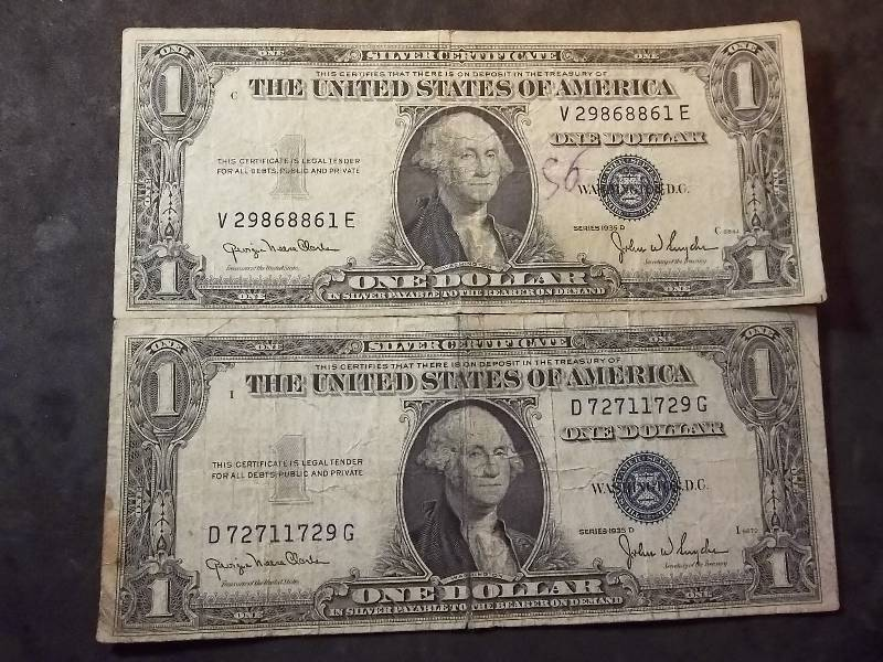 2 US One Dollar Silver Certificates 1935 D Series | Type Coins ...