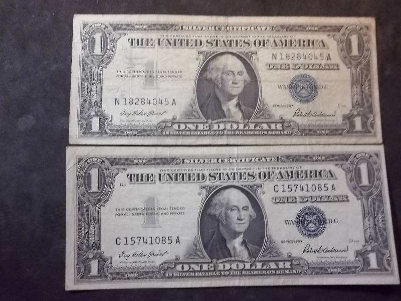 2 US One Dollar Silver Certificates 1957 Series | Type Coins, Proof ...