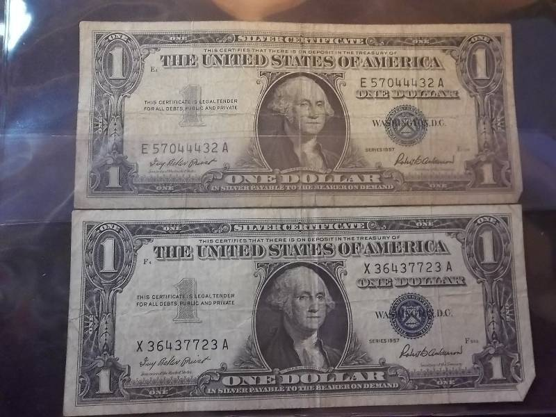 2 Us One Dollar Silver Certificates 1957 Series Type Coins Proof