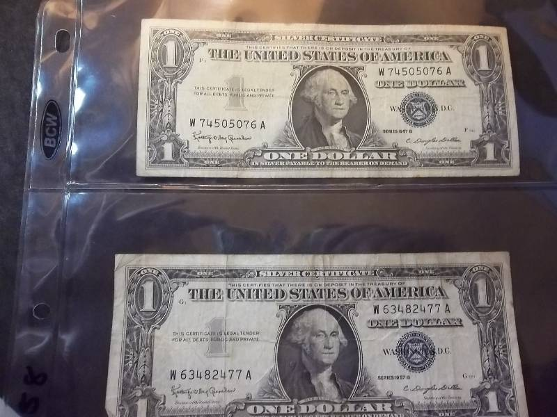 2 One Dollar Silver Certificates Series 1957 B | Type Coins, Proof ...