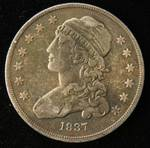 1837 US CAPPED BUST SILVER QUARTER XF40