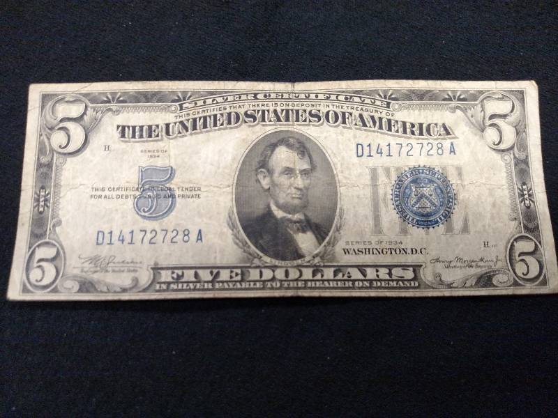 1934 Five Dollar Silver Certificate Usa Coins Currency 11 K Bid