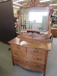 VINTAGE OAK DRESSER WITH MIRROR