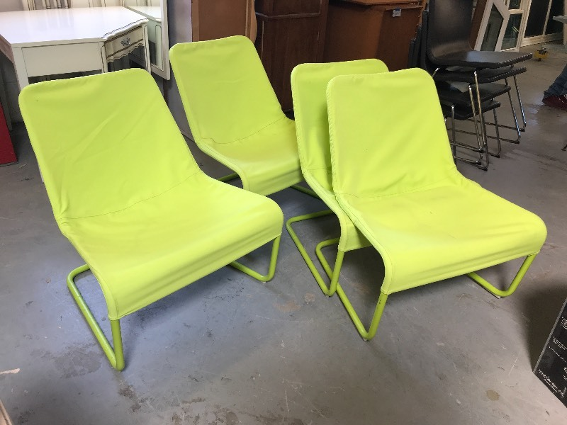 CHARTREUSE CANVAS COVERED CHAIRS | HARDWOOD FURNITURE, CHAIRS, MUSICAL  INSTRUMENTS U0026 ART | K BID