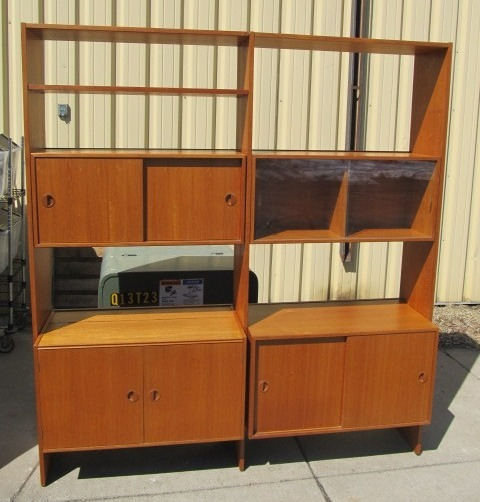 Orig Mid Century HG Furniture Danish Modern Teak Wall Unit | Little Canada  Estate Auction   Antiques Collectibles Mid Century Furniture U0026 MORE! | K BID