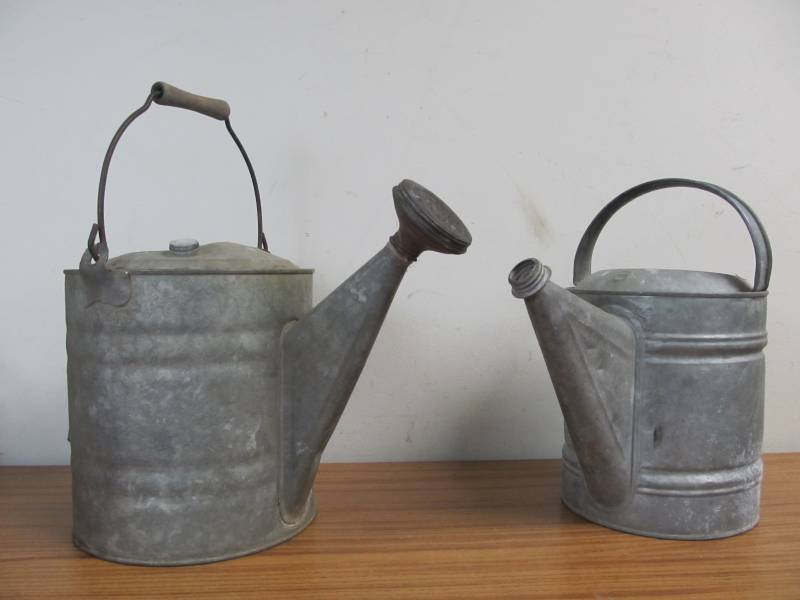 2 Old Metal Watering Cans 1 W Nozzle Little Canada Estate Auction Antiques Collectibleore K Bid