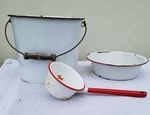 Antique Red & White Enamelware Bucket Pan and Water Scup