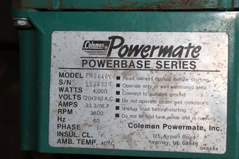 Coleman Powermate Electric Generator Columbia Heights Outboards 1966 Olds Convertible Estate Sale K Bid