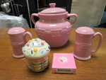 CERAMIC COOKIE JAR, SALT AND PEPPER SHAKERS AND CUPCAKE BASKET