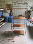 WROUGHT IRON BAKERS RACK AND PLANT STAND