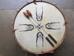 Large Vintage Native American Animal Hide Drum