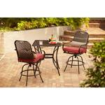 Hampton Bay Fall River 3-Piece Bar Height Patio Dining Set with Chili Cushions