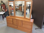 LARGE OAK DRESSER WITH MIRROR