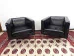 2 MINT 100% Leather Mid-Century Modern Chairs