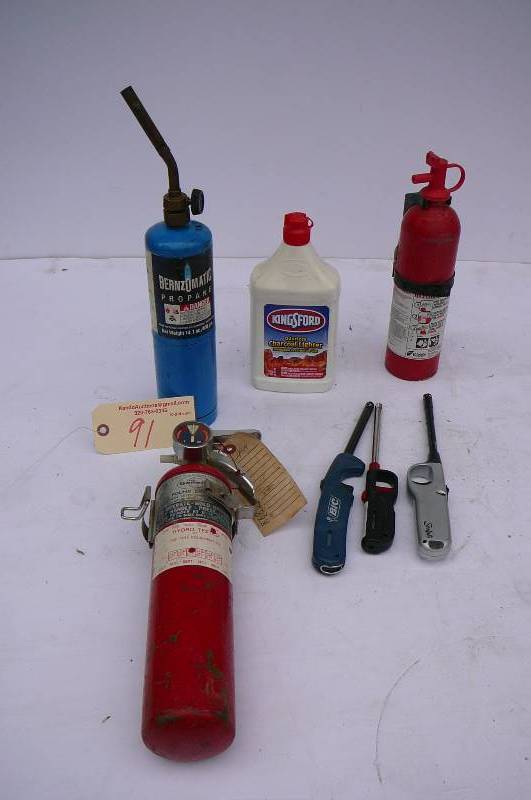 Propane Torch Charcoal Lighter General Fire Extinguisher 1 Kid 3 Stick Lighters Alexandria Area Lake Estate Auction Part 584