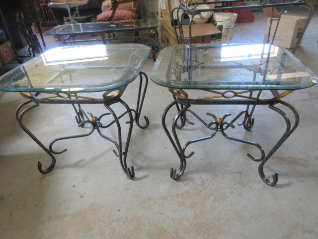 Wrought Iron And Gl End Tables Quality Executive Home Furnishings K Bid