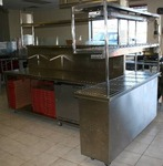 Commercial Prep Table with Refridgerator and Heat Lamp Racks