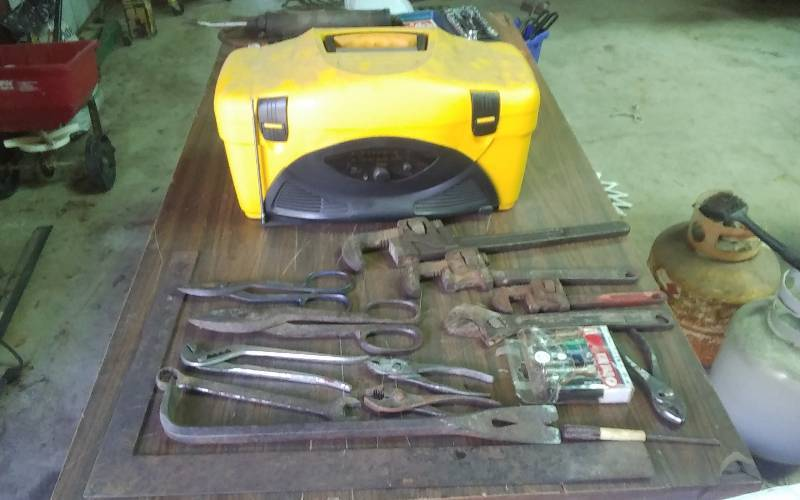 Tool Box Radio, Assorted Wrenches, Pliers, Shears, Square | Rockford