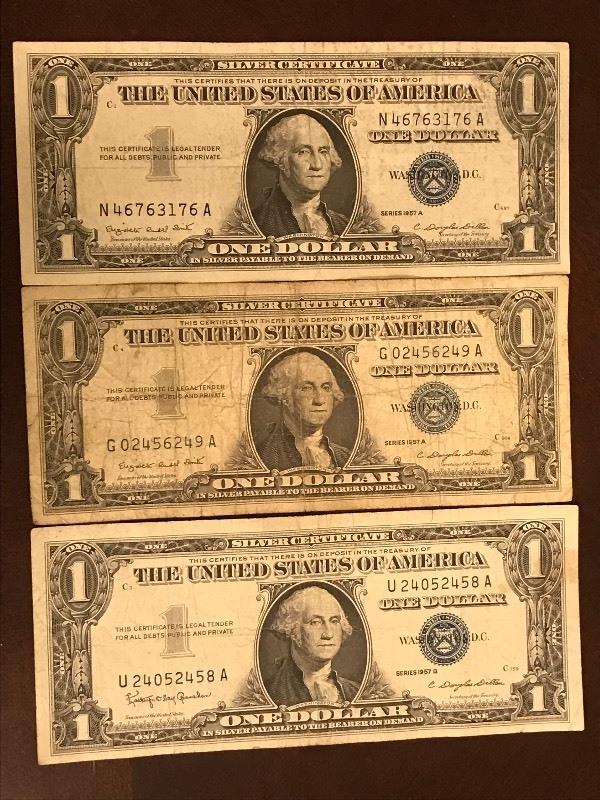 Lot Of 3 Us Silver Certificates August Silver Coins