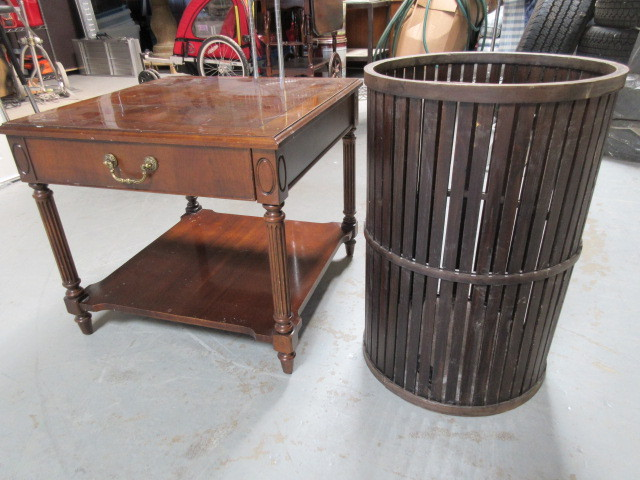 Thomasville End Table And Wooden Hamper Vintage Toys