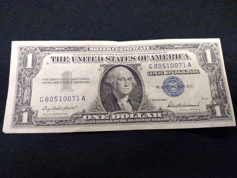 1957 One Dollar Silver Certificate Usa Coins Currency 26 K Bid