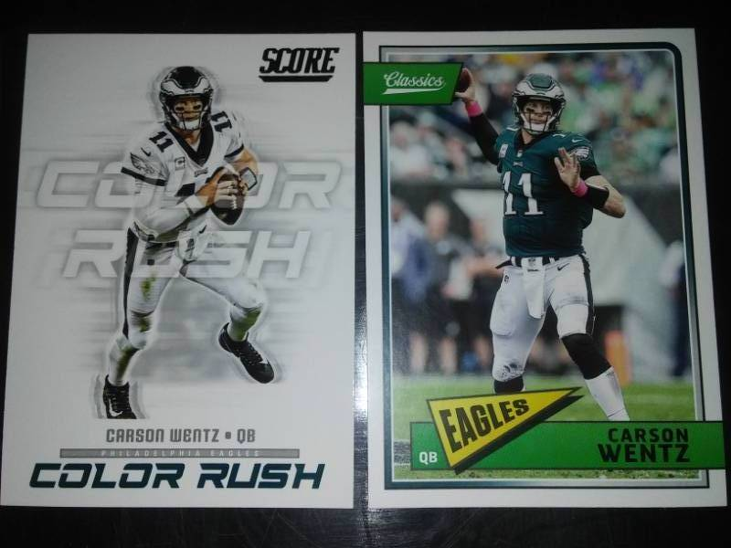 cheap for discount 4449f ff7aa 2 Carson Wentz rookie season cards. NDSU Bison, NFL ...