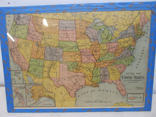 Complete Antique 1890\'s Milton Bradley United States Map ...