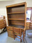 OAK HARDWOOD DESK W/ BOOKCASE HUTCH AND CHAIR