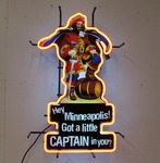 Working MINNEAPOLIS Captain Morgan Lighted Neon Sign