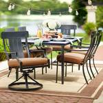 Oak Heights 7-Piece Metal Outdoor Patio Dining Set with Cashew Cushions in good conditions