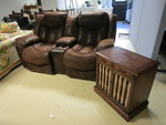 RECLINING ENTERTAINMENT SOFA AND END TABLE